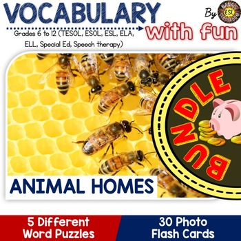 Animal Homes 5 Word Puzzles and 30 Photo Flash Cards BUNDLE