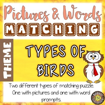 Types of Birds ESL Activities Picture and Definition Matching Puzzles