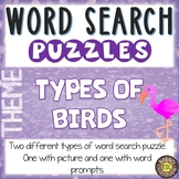 Types of Birds ESL Activities Word Search Puzzles