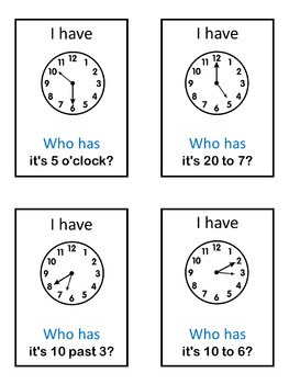 ESL Telling Time  I have ... Who has ...? game