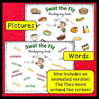 ESL Thanksgiving Activities | Thanksgiving Food Vocabulary | Swat the Fly Game
