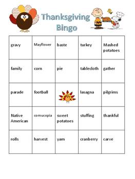 ESL Thanksgiving Bingo