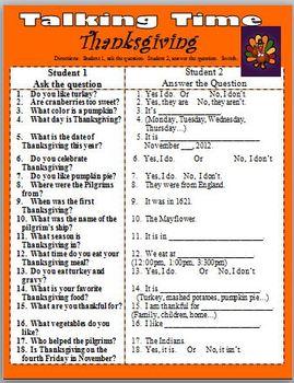ESL  Thanksgiving Talking Time