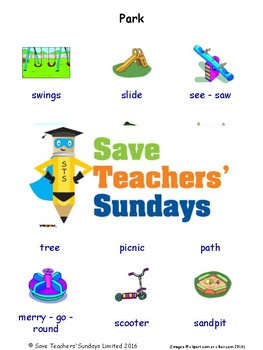 ESL The Park Worksheets, Games, Activities and Flash Cards (with audio)