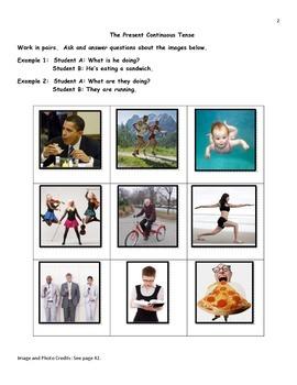 ESL The Present Continuous Tense Practice Booklet