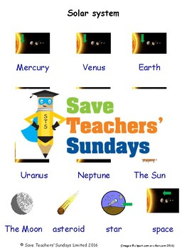 ESL The Solar System Worksheets, Games, Activities and Flash Cards (with audio)