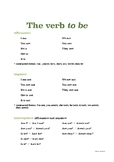 ESL The verb TO BE (present simple) Poster and Exercises