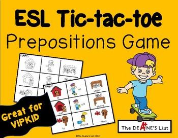 ESL Tic-tac-toe Prepositions Game