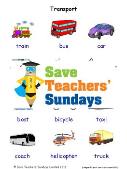 ESL Transport Worksheets, Games, Activities and Flash Cards (with audio)
