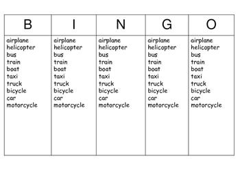 ESL Transportation Bingo – Transportation Vocabulary in English