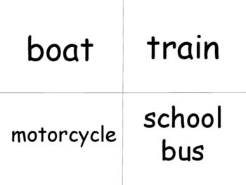 ESL Transportation Vocabulary Word Wall