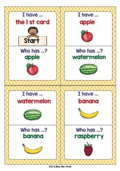 ESL VOCABULARY GAME: FRUIT (I have, who has)