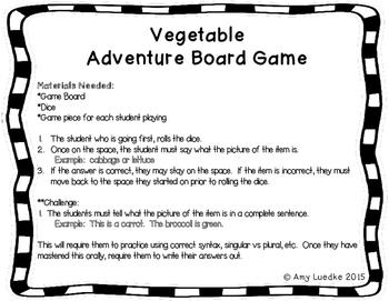 ESL Vegetable Vocabulary Board Game