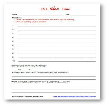 ESL Video Time - Worksheet