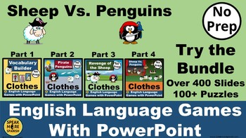 ESL Vocabulary Builder for CLOTHING.  Sheep Vs. Penguins PowerPoint Games!