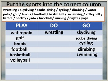 Vocabulary of Sports, really into/do/play/go w/s, PPT, crossword & quizzes