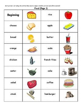 English Vocabulary Dominoes - Food