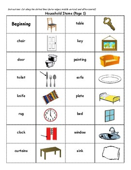 English Vocabulary Dominoes - Household Items