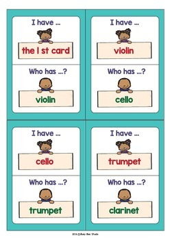 "ESL Vocabulary Game ''I have, who has?"" - Musical Instruments"