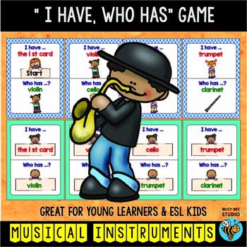 """ESL Vocabulary Game ''I have, who has?"""" - Musical Instruments"""