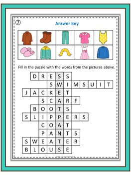 ESL Vocabulary Puzzles  clothes