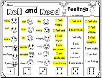 Elementary ESL Roll and Read Feelings with Emojis!  Fun ELL Game!