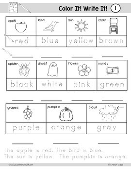 ESL Vocabulary Workbook for Beginners FREEBIE - Colors