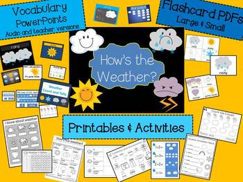 ESL WEATHER  and COUNTING PowerPoints, Activities and Printables