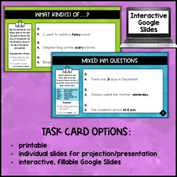 WH-Question Formation Task Cards and Activities