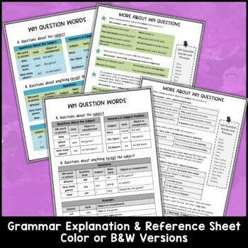 WH Question Task Cards and Activities Bundle