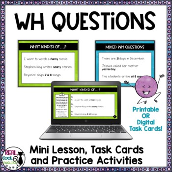 ESL WH-Question Formation Task Cards and Activities