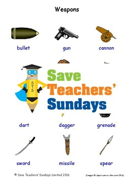 ESL Weapons Worksheets, Games, Activities and Flash Cards (with audio)