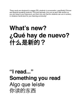 ESL What's New? Cards - Conversation Starters