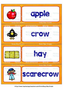 Word Wall Cards with Pictures for ESL Students and Young Learners: FALL