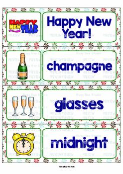 Happy New Year Word Wall Cards | Writing Center