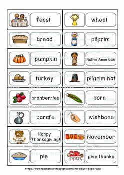 ESL Word Walls: Thanksgiving