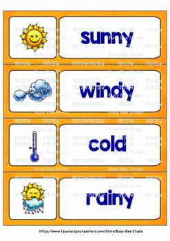Word Wall Cards for ESL Students and Young Learners: WEATHER