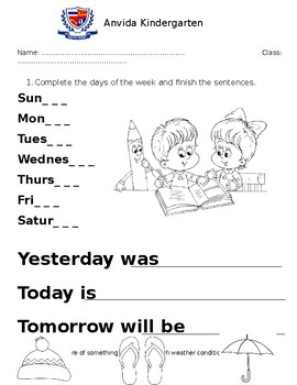ESL Worksheet - weather and calendar
