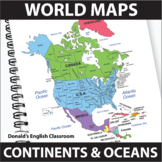 World Maps   Continent and Ocean Maps