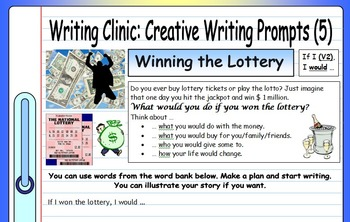 ESL Writing Clinic (4 EFL instruction worksheets + 24 writing prompt worksheets)