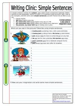ESL Writing Clinic: Simple Sentences EFL