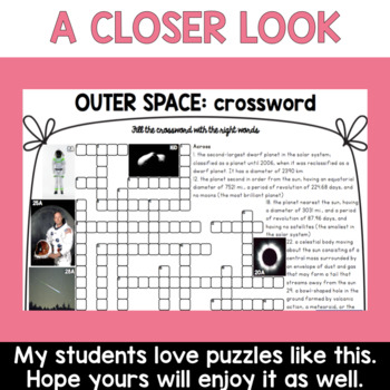 Space ESL/ELL Activity Crossword Puzzle