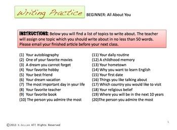 ESL and English Writing Prompts - Beginner, Intermediate,