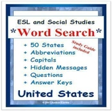 ESL and Social Studies Word Search on United States