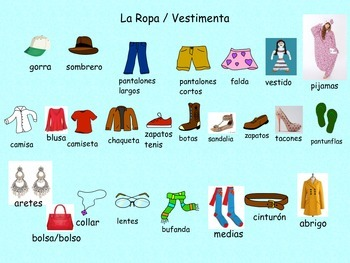 ESL and Spanish Clothes/La Ropa Activities