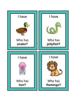 ESL animals  I have ... Who has ...? game