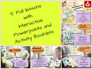 ESL bundle back to school 2: vocabulary-grammar interactive printable activities
