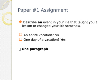 ESL for Adults - How to Write a Paragraph PowerPoint with examples