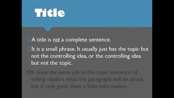 ESL for Adults - Paragraph Writing - Effective Titles and Topic Sentences