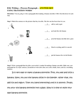 ESL for Adults - Process Paragraph Writing - Using Transition Words